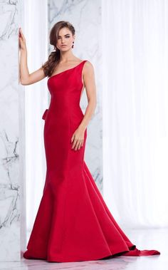 Tarik Ediz Prom One Shoulder Rose Embroidered Bow Back Prom Dress - ShopStyle Mermaid Skirt, Mermaid Gown, Red Wedding Receptions, Evening Dresses, Prom Dresses, Full Length Skirts, Pageant Gowns, Sheer Fabrics, Formal Gowns