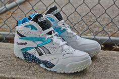 93b17e3e50bf Reebok Scrimmage Mid-White Metallic Blue Black Sneaker Boots