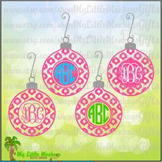Ikat Christmas Ornament Monogram Base Designs Digital Clipart Instant Download SVG DXF EPS Jpeg Png - pinned by pin4etsy.com
