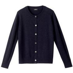 Merino wool cardigan - NAVY BLUE CHINÉ - A.P.C. WOMAN