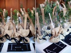Green wedding favors: Seat Assignments and Favors in One West Virginia Rustic Wedding: Brittany   John