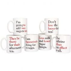 Grammar Grumble Mugs - Set of all 6