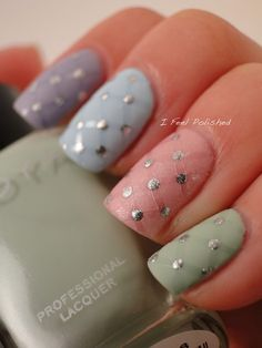 Awesome Spring/Easter nail look with #Zoya #NailPolish in Julie, GeiGei, Blu, Neely, and Piaf!