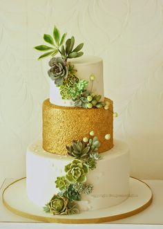 #Succulents and #Gold sequins #Cake by cupcake d'lights {South Africa}