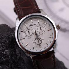 d182fe0ec9f Elegantní pánské hodinky s hnědým koženým páskem a bílým víceúčelovým  ciferníkem + POŠTOVNÉ ZDARMA Na tento