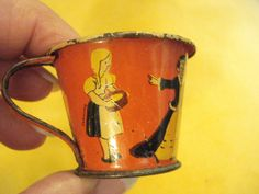 RARE and Fantastic 1940's CINDERELLA & Three Stepsisters LITHOGRAPHED Vintage Child's Toy Cup