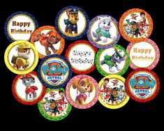 Paw Patrol Cupcake Toppers Party Printable Paw Patrol Cupcake Toppers, Paw Patrol Cupcakes, Party Printables, Vibrant Colors, Card Stock, Happy Birthday, Happy Aniversary, Happy Brithday, Bright Color Schemes