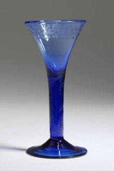 Rare Blue Century glass with an air-twist stem and engraved border. Rare Wine, Glass Museum, Antiques Online, Vintage Glassware, Antique Glass, Crystals And Gemstones, 18th Century, Wine Glass, Drinking
