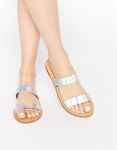 f587dd4260fe1 New Look Holographic Two Strap Sandal