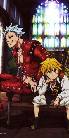 Ban & Meliodas (The Seven Deadly Sins) Seven Deadly Sins Anime, 7 Deadly Sins, Anime Angel, Anime Naruto, Otaku Anime, Anime Wolf, Anime Fantasy, Anime Outfits, Anime Cosplay