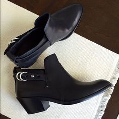 Rag and Bone Sullivan Booties Rag and bone black short leather booties with side buckle. Never worn out, only tried on. Size 40. No box or dust bag. Retail $495 rag & bone Shoes Ankle Boots & Booties