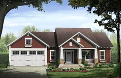 Craftsman House Plan Front of Home for Home Plan also known as the Kelly Leaf Craftsman Ranch Home from House Plans and More. Bungalow House Plans, Craftsman Style House Plans, Cottage House Plans, Country House Plans, Cottage Homes, Rambler House Plans, Cottage Style, Cottage Grove, House Plans And More