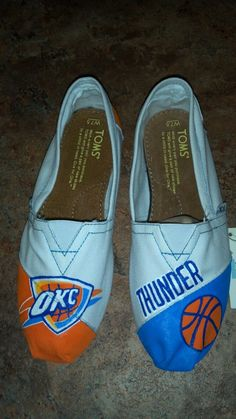 Womens Size 6 OKC Thunder TOMS, ready to ship. $65.00, via Etsy.