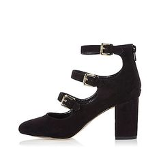 Black multi strap block heel court shoes - court shoes - shoes / boots - women