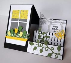 step card - with window flower box on left - picket fence, flowers vines on righ. step card – with window flower box on left – picket fence, flowers vines on right steps Fun Fold Cards, 3d Cards, Folded Cards, Cute Cards, Stampin Up Cards, Pop Up Cards, Side Step Card, Stepper Cards, Memory Box Cards