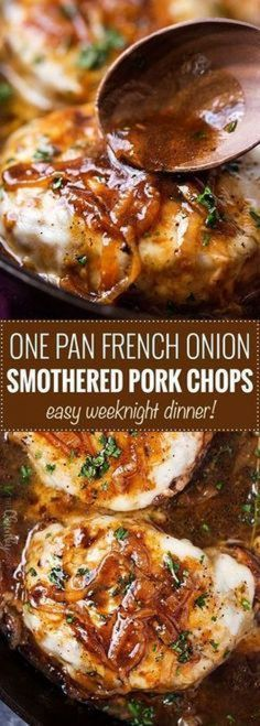 One Pan French Onion Smothered Pork Chops ~ juicy pan-seared pork chops, smothered in caramelized onion sauce and 2 kinds of gooey cheese! Meat Recipes, Cooking Recipes, Healthy Recipes, Chicken Recipes, Onion Recipes, Recipes Using Beef Broth, Easy Pork Recipes, Gastronomia, Kitchen