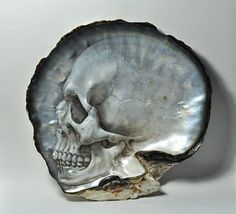 Beautiful Skulls Hand Carved and Painted on Philippine Mother of Pearl Shells
