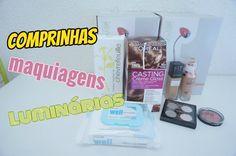 Comprinhas de maquiagens e luminárias