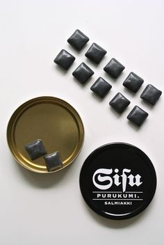 New Sisu-chewing gum is packed in a stylish black and white tin. Helsinki, Chewing Gum, Bubble Gum, Finland, Barware, Bubbles, Packaging, Sweet Stuff, Tin