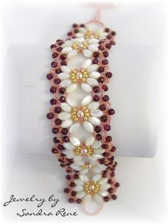 Beadwork Bracelet - Mother of Pearl and Ruby Beadweaving - Beaded Beadwoven Jewelry