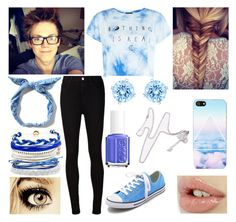 """Filming with Caspar"" by youtube-crazy ❤ liked on Polyvore featuring Converse, AG Adriano Goldschmied, Essie, Domo Beads, NOVA, Olsen, Swarovski, YouTubers, youtube and Youtuber"