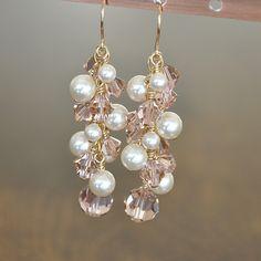 Gold Bridal Earrings, Rose Gold Earrings, Pink Crystal Wedding Earrings, Long Cluster Earrings, Fall Wedding Jewelry. $82.00, via Etsy.
