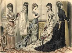 This fashion plate from an 1878 edition of Peterson's magazine illustrates the simpler, more columnar shape that came into fashion in the late 1870s and early 1880s