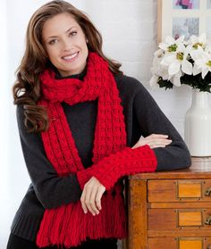 Lacy Bobble Scarf and Wristlets Crochet Pattern | Red Heart