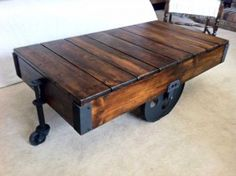 warehouse cart coffee table made from scratch - by Mingled Elements...while I really like these, they don't provide useful storage the way steamer trunks as coffee tables do. #reclaim #repurpose #reuse #recycle #DIY