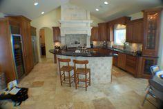 Custom Cherry Kitchen Cabinets Love the tile on the island