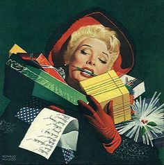 Pin-up, Illustrations, Advertisments, and Other Things that are Not Pulp Covers Ghost Of Christmas Past, Christmas Love, A Christmas Story, Christmas Shopping, Christmas Labels, Merry Christmas, Vintage Christmas Photos, Vintage Holiday, Christmas Pictures