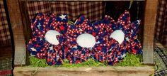 3 LARGE Star Fabric Americana Flower Bowl Fillers by kklprimitives