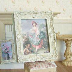 Dollhouse Miniature, Framed Lady Picture, White Ornate Frame, Dolls House Painting, French Home Decor, Shabby Cottage Chic, 1:12th Scale