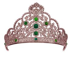 Victorian Reproduction 17.39ct Diamond & Emerald Tiara By Wedding Jewelry
