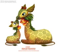 Daily Paint Necktarine by Cryptid-Creations on DeviantArt Cute Food Drawings, Cute Animal Drawings Kawaii, Cute Cartoon Animals, Anime Animals, Kawaii Drawings, Funny Animals, Cute Animals, Cute Fantasy Creatures, Mythical Creatures Art