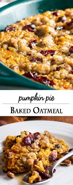 Pumpkin baked oatmeal is a healthy and filling breakfast for those days when you can't have enough pumpkin pie in your life. Great for a crowd! Oatmeal Recipes, Pumpkin Recipes, Fall Recipes, Real Food Recipes, Cooking Recipes, Yummy Food, Amish Recipes, Christmas Recipes, Healthy Food