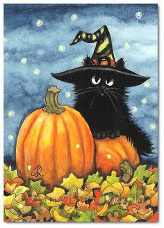 Black Fuzzy Cat Halloween Pumpkin Witch Hat  by AmyLynBihrle, $30.00