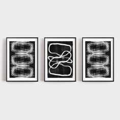 Set of 3 Modern Geometric Abstract Prints in White on Black, Contemporary Minimalist Wall Art, Paper or Canvas, Framed or Unframed Black And White Wall Art, Image Shows, Contemporary, Modern, Etsy Seller, Minimalist, Fine Art, Abstract, Canvas