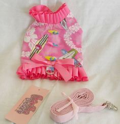New Dog Cat Clothing Vest Harness Leash Pink Surfer Girl Cha Cha Couture xs   #ChaChaCouture