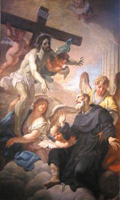 Il santo nel 1325 fu colpito da cancrena ad una gamba, causata dalla penitenza che San Pellegrino Laziosi si era imposto di non sedersi e distendersi mai, ma la notte prima dell'amputazione fu miracolosamente guarito mentre pregava davanti al Crocifisso,...