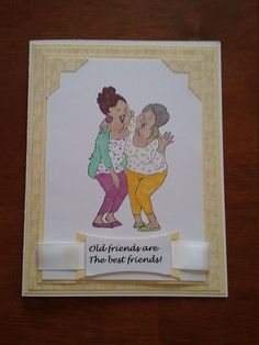 Old friends are the best friends! Cute card with two friends in a hug, laughing together. Done in yellow background for a cheerful setting. Inside sentiment says, thank you for walking beside me and being my friend. Perfect card for any occasion. Happy Birthday Girlfriend, Art Impressions Stamps, Birthday Cards For Women, Rainbow Flowers, Thing 1, Blond Amsterdam, Friendship Cards, You Gave Up, Cool Cards