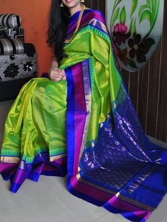 Poly Silk Green Saree with Matching Color silk Blouse. It contained of Printed. The Blouse which can be customized up to bust size This Unstitch Saree Length mtr including mtr Blouse. Indian Silk Sarees, Silk Cotton Sarees, Pure Silk Sarees, Ethnic Sarees, Green Saree, Blue Saree, Blue Color Combinations, Buy Designer Sarees Online, Designer Wear