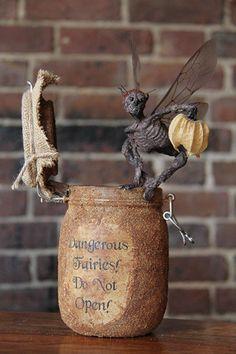 'Dangerous Fairies - Do Not Open!' Fairy Sculpture –