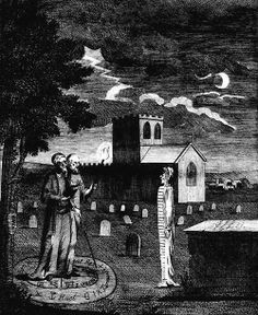 Edw[ar]d Kelly, a Magician. in the Act of invoking the Spirit of a Deceased Person by Ebenezer Sibly from Astrology, A New and Complete Illustration of the Occult Sciences,1806.