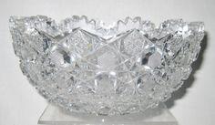 "ANTIQUE BRILLIANT CUT GLASS BOWL 8"""