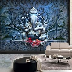 Doesn't the beauty of 'The Serene Ganesha' wall mural make you want to surrender to this majestic sight? Call us at 9167323355 for customization. Unique Wallpaper, Wall Wallpaper, 3d Wallpaper Designs For Walls, Tree Wall Murals, Mural Wall Art, Wall Stickers Uk, Wall Design, Door Design, House Design