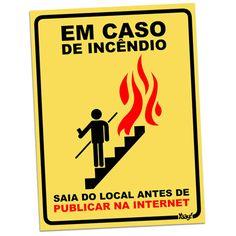 Placa em Caso de Incêndio 20X15 - Yaay