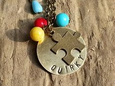 Stamped Brass Quirky Necklace by BordersBeachShop on Etsy