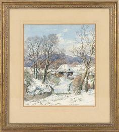 """aquarelle sur papier de Stanley Roy BADMIN (1906-1989) """"A South Downs Nativity"""" sbd à la plume et daté 1966. <br>30x26.5 cm  <br> <br>Paintings    <br>Tableaux - Encadrés"""