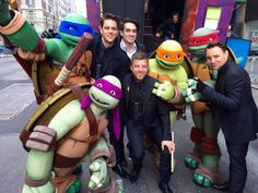 Panic! At The Disco and the ninja turtles after Macy's Thanksgiving Day Parade